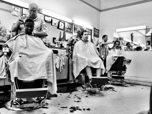 Saturday morning haircuts in Palo Alto, CA.